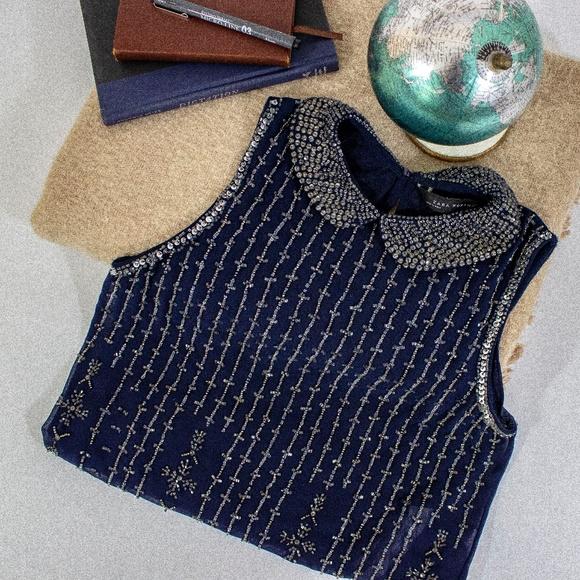 Zara - Bedazzled Blue Collar Sleeveless Sheer Top